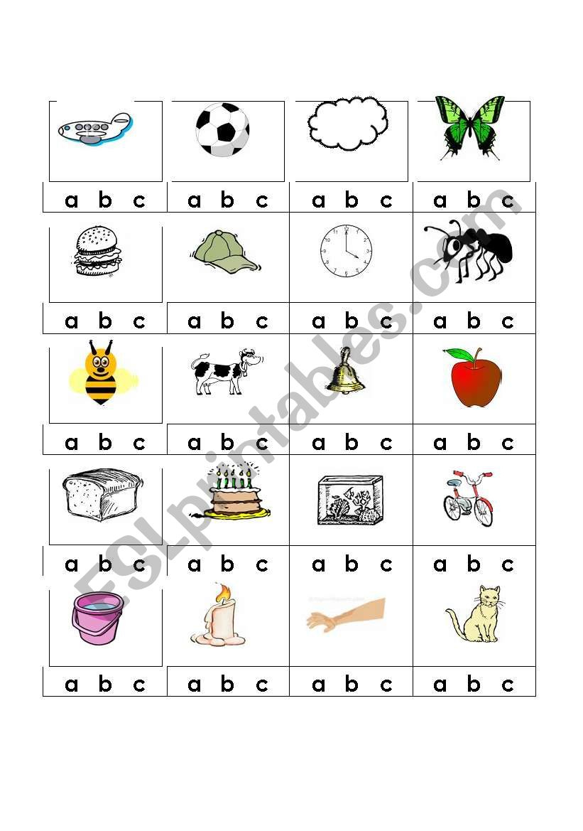 English Worksheets: Alphabet Beginning Sounds in Alphabet Sounds Worksheets