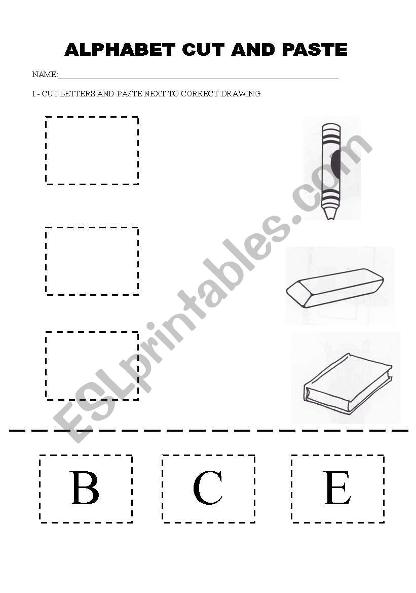 English Worksheets: Alphabet Cut And Paste intended for Alphabet Worksheets Cut And Paste