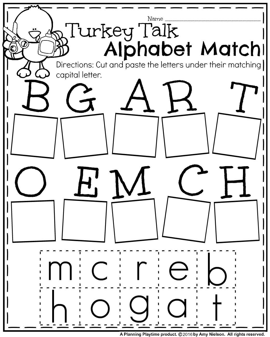 Fall Kindergarten Worksheets For November | Kindergarten intended for Letter Matching Worksheets Cut And Paste