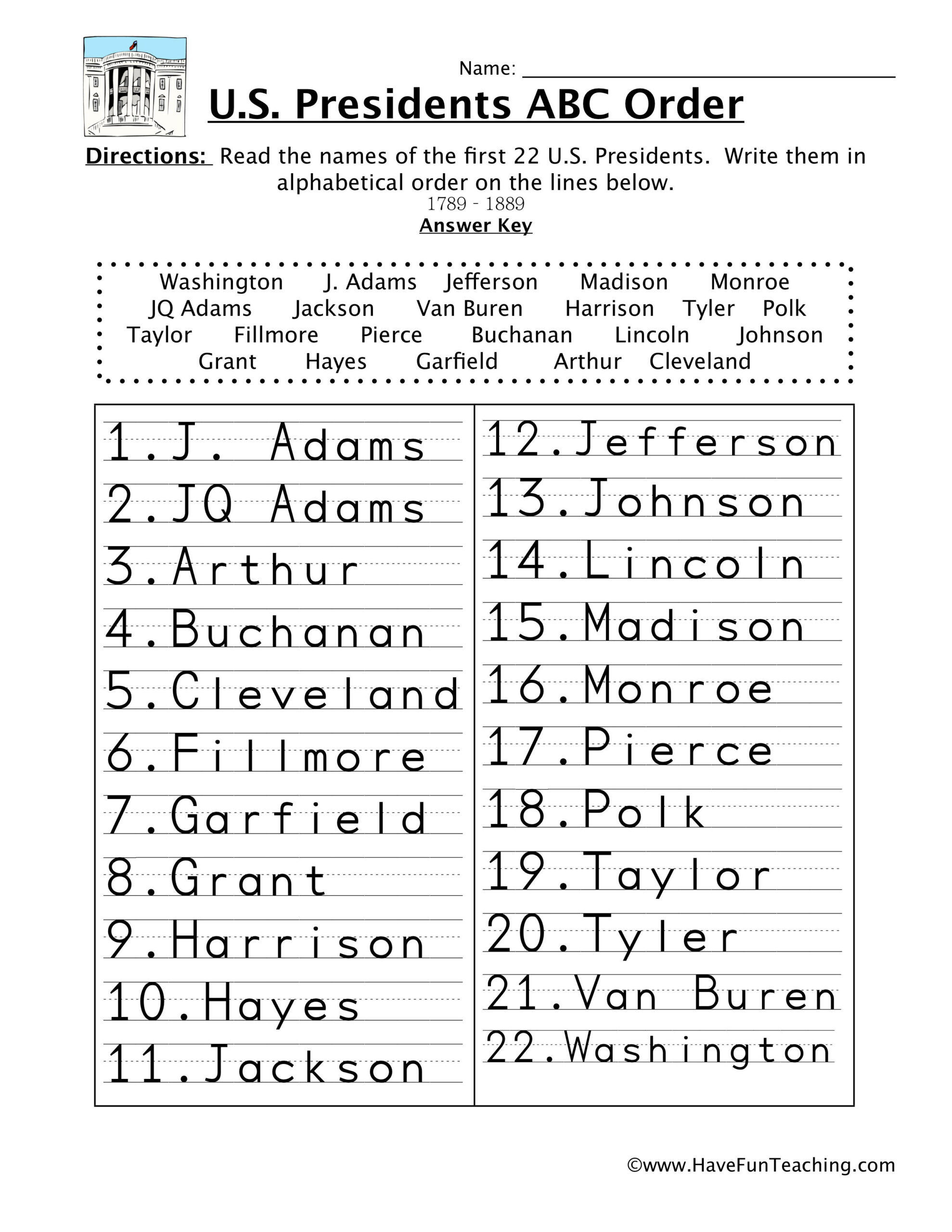 First Half Presidents Alphabetical Order Worksheet | Have intended for Alphabet Order Worksheets For Kindergarten
