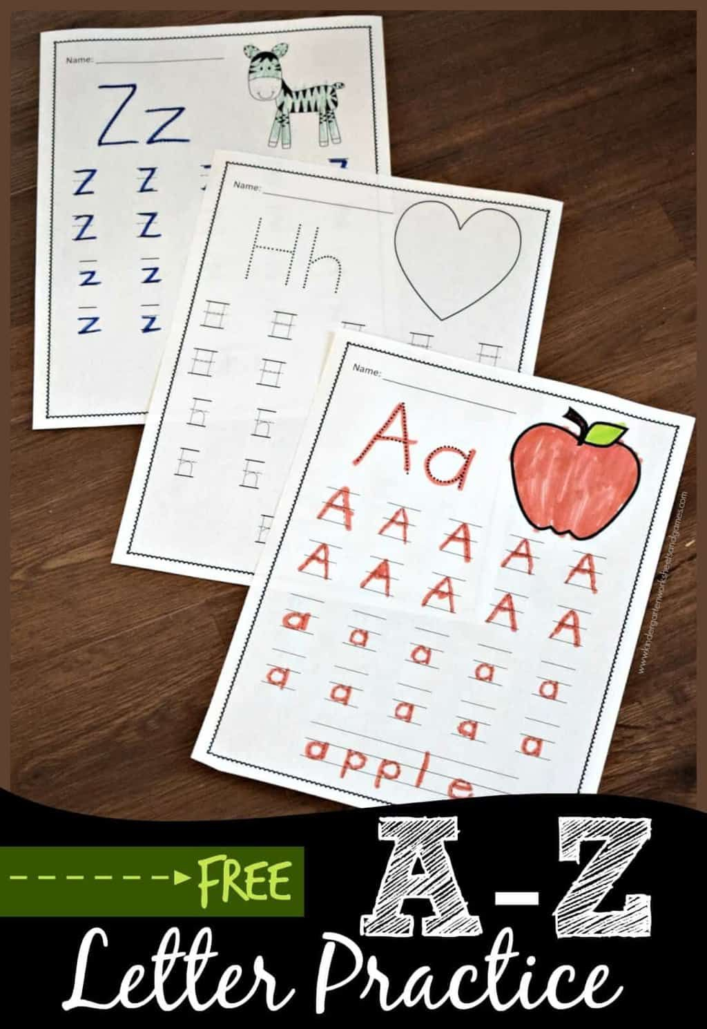 Free A To Z Letter Practice - These Free Printable in Alphabet Handwriting Worksheets A To Z For Preschool To First Grade