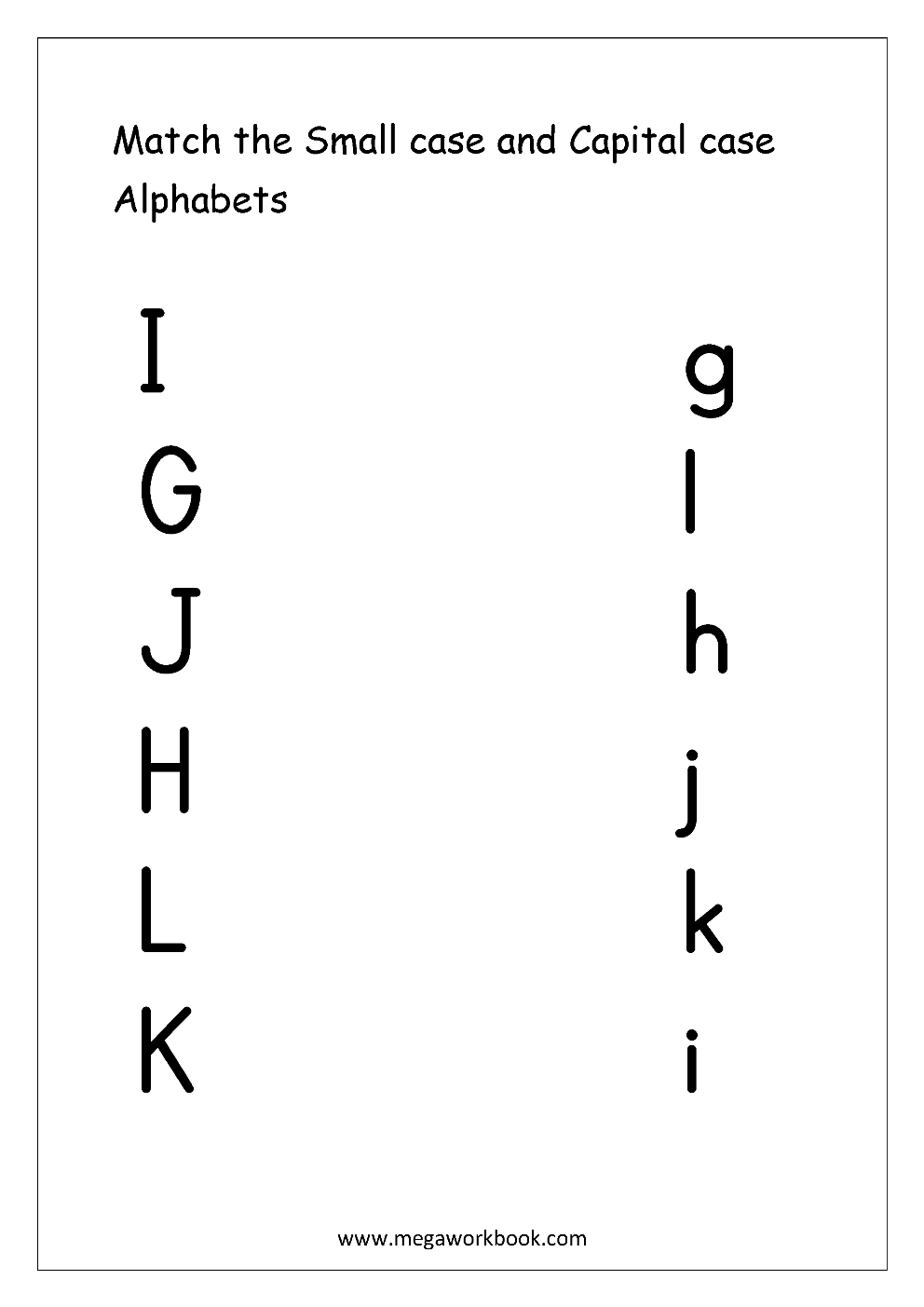 Free English Worksheets - Alphabet Matching - Megaworkbook for Letter Matching Worksheets