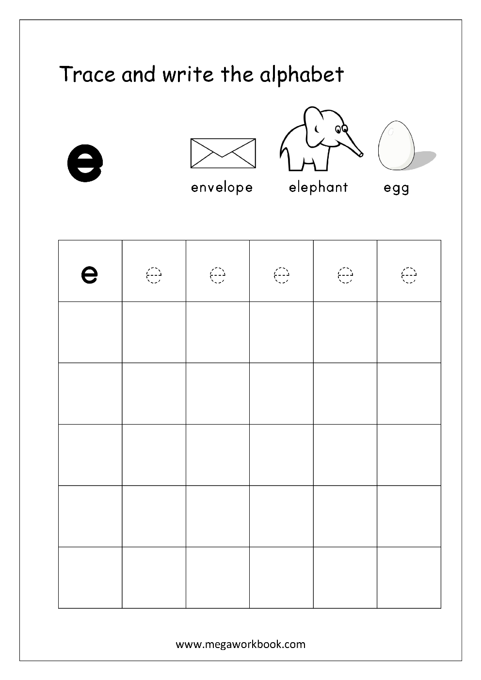 Free English Worksheets - Alphabet Writing (Small Letters regarding Letter E Worksheets Lowercase