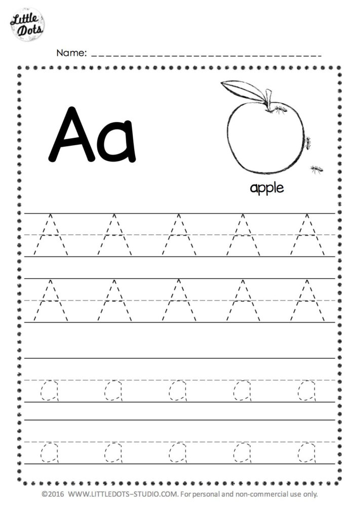 Free Letter A Tracing Worksheets | Alphabet Tracing Within Pre K Alphabet Worksheets Free