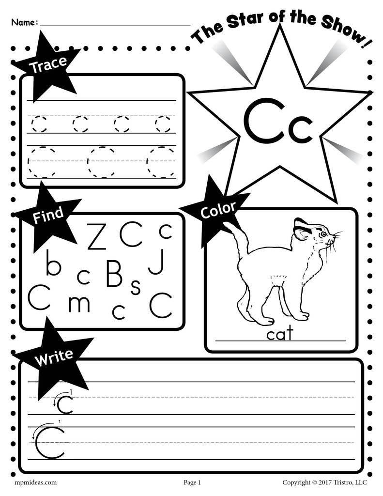 Free Letter C Worksheet: Tracing, Coloring, Writing & More for Letter C Worksheets For 2 Year Olds
