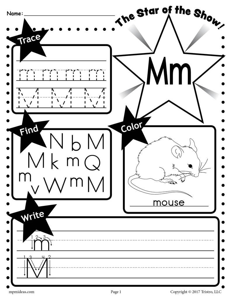 Free Letter M Worksheet: Tracing, Coloring, Writing & More with regard to Letter M Worksheets For Preschoolers