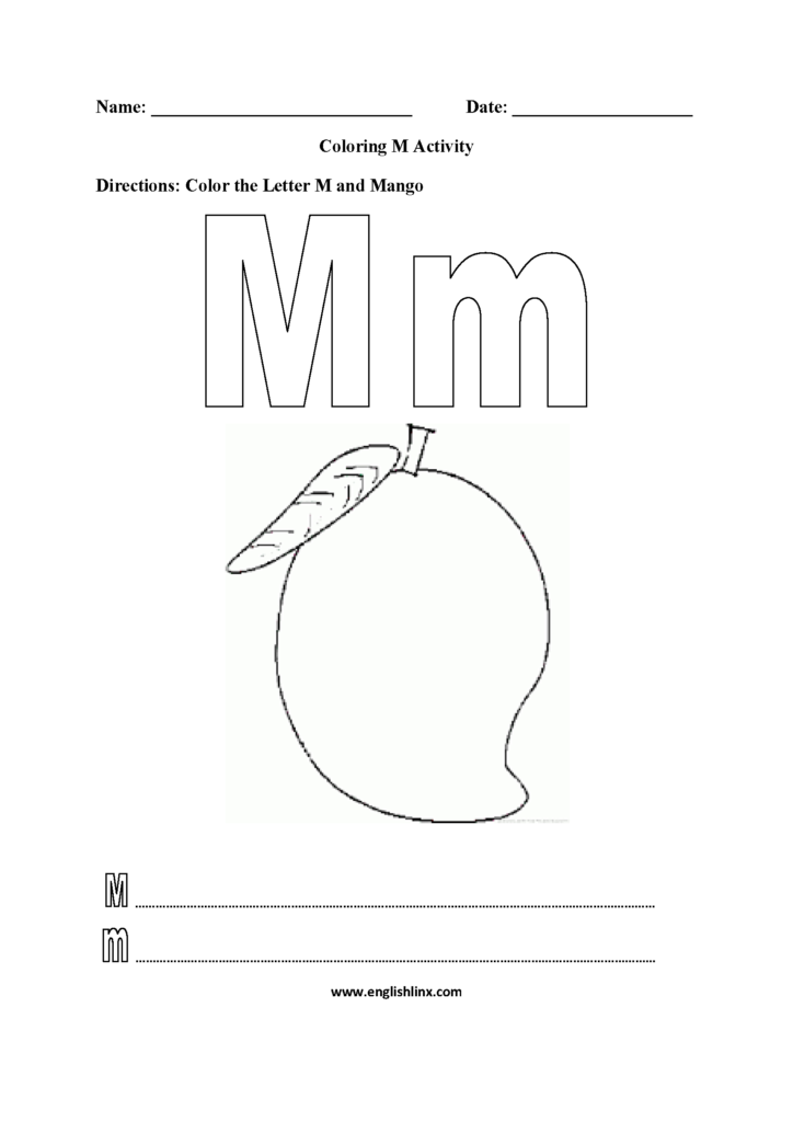 Free Letter M Worksheets Pictures   Alphabet Free Preschool Inside Letter M Worksheets For First Grade