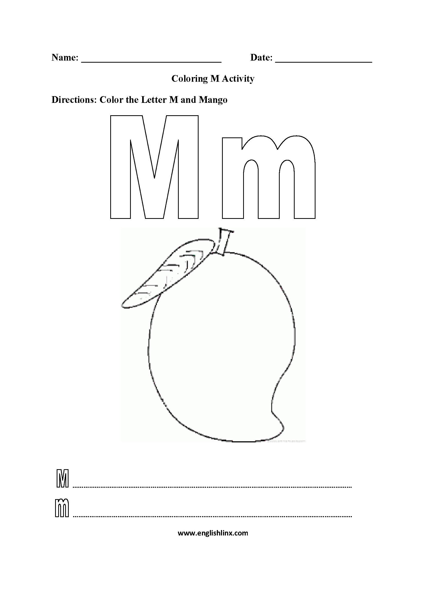 Free Letter M Worksheets Pictures - Alphabet Free Preschool inside Letter M Worksheets For First Grade