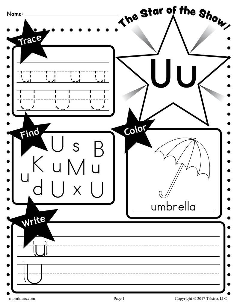 Free Letter U Worksheet: Tracing, Coloring, Writing & More throughout Letter U Worksheets For First Grade