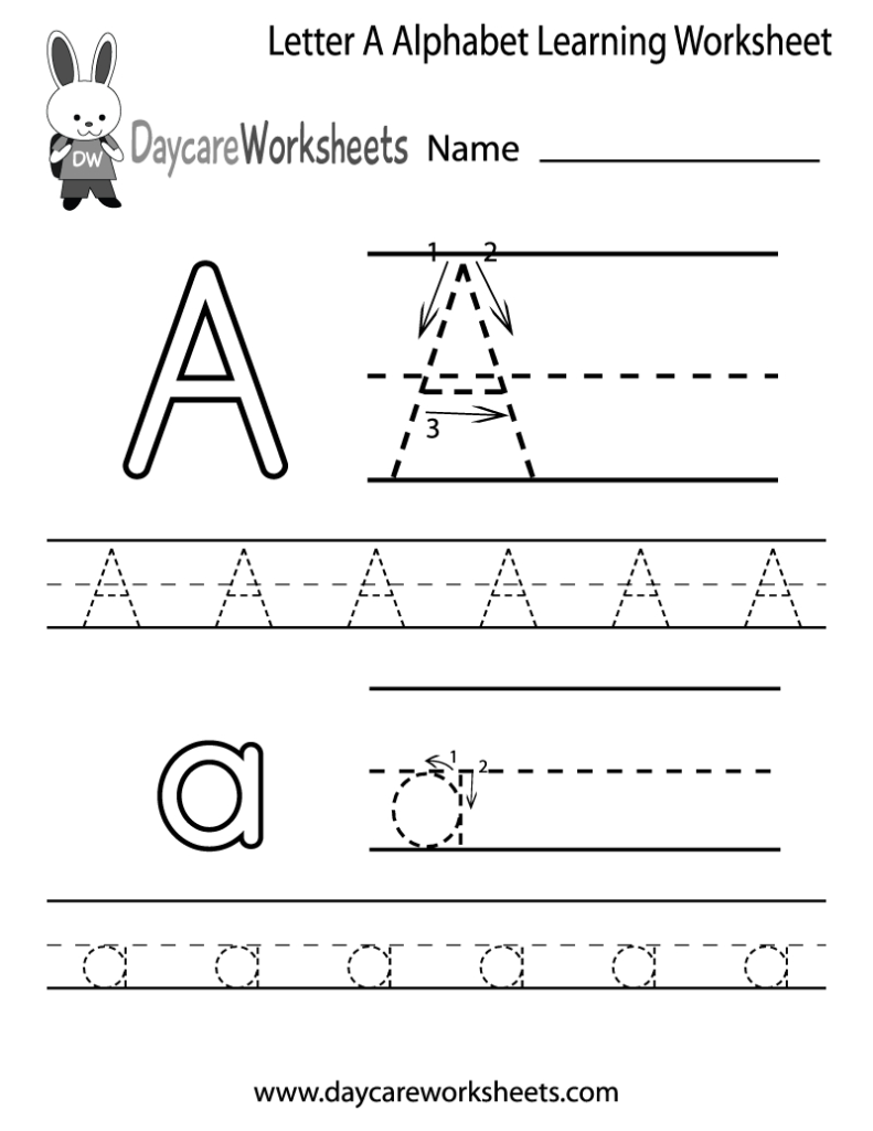 Free Printable Letter A Alphabet Learning Worksheet For Within Pre K Alphabet Worksheets Printable