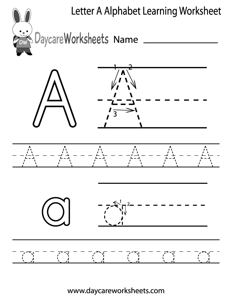 Free Printable Letter A Alphabet Learning Worksheet For within Pre-K Alphabet Worksheets Printable