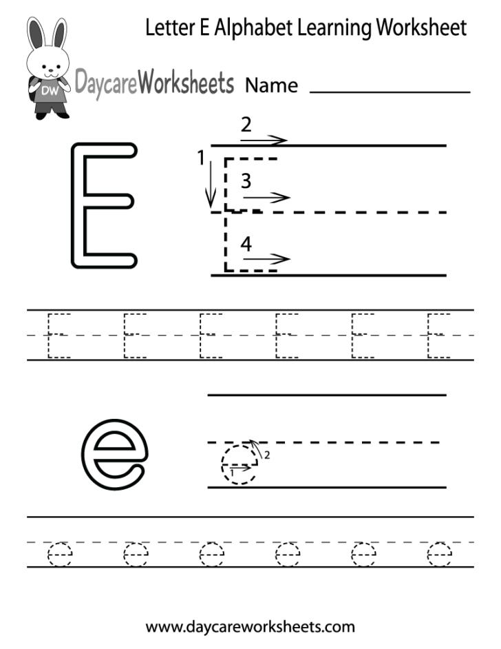 E Letter Worksheets