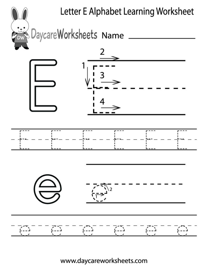 Free Printable Letter E Alphabet Learning Worksheet For Intended For Alphabet Worksheets Letter E