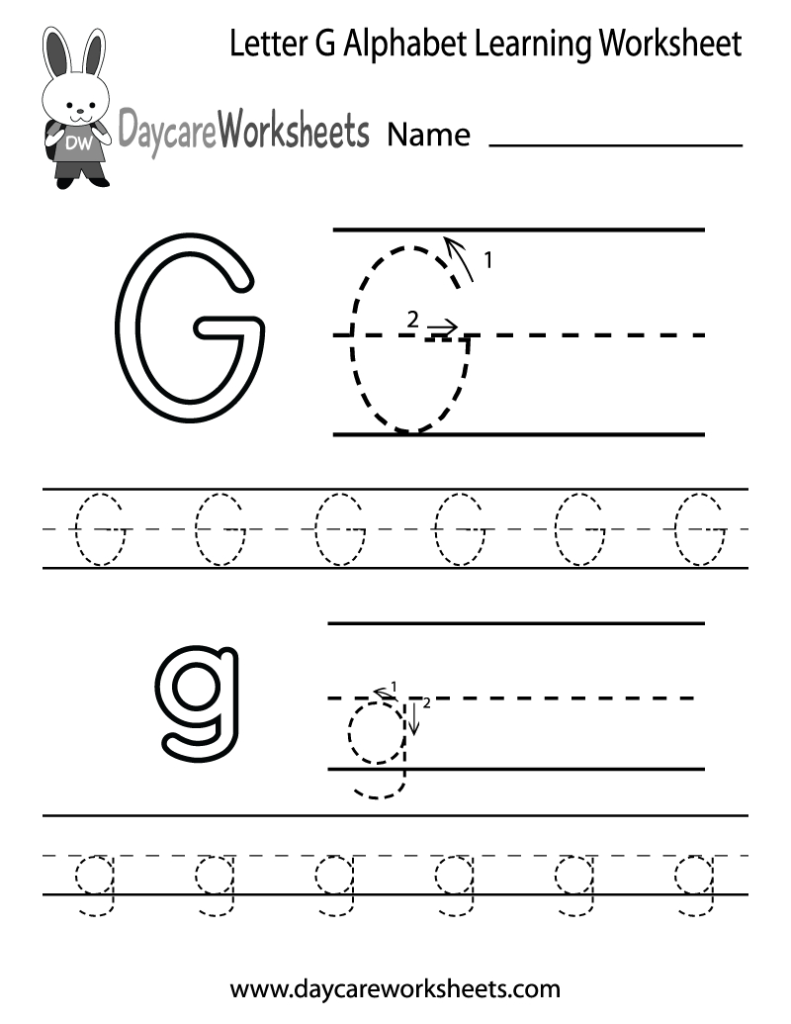 Free Printable Letter G Alphabet Learning Worksheet For With Regard To Letter G Worksheets For Preschool