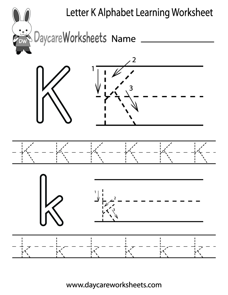 Free Printable Letter K Alphabet Learning Worksheet For in Pre-K Alphabet Worksheets Printable