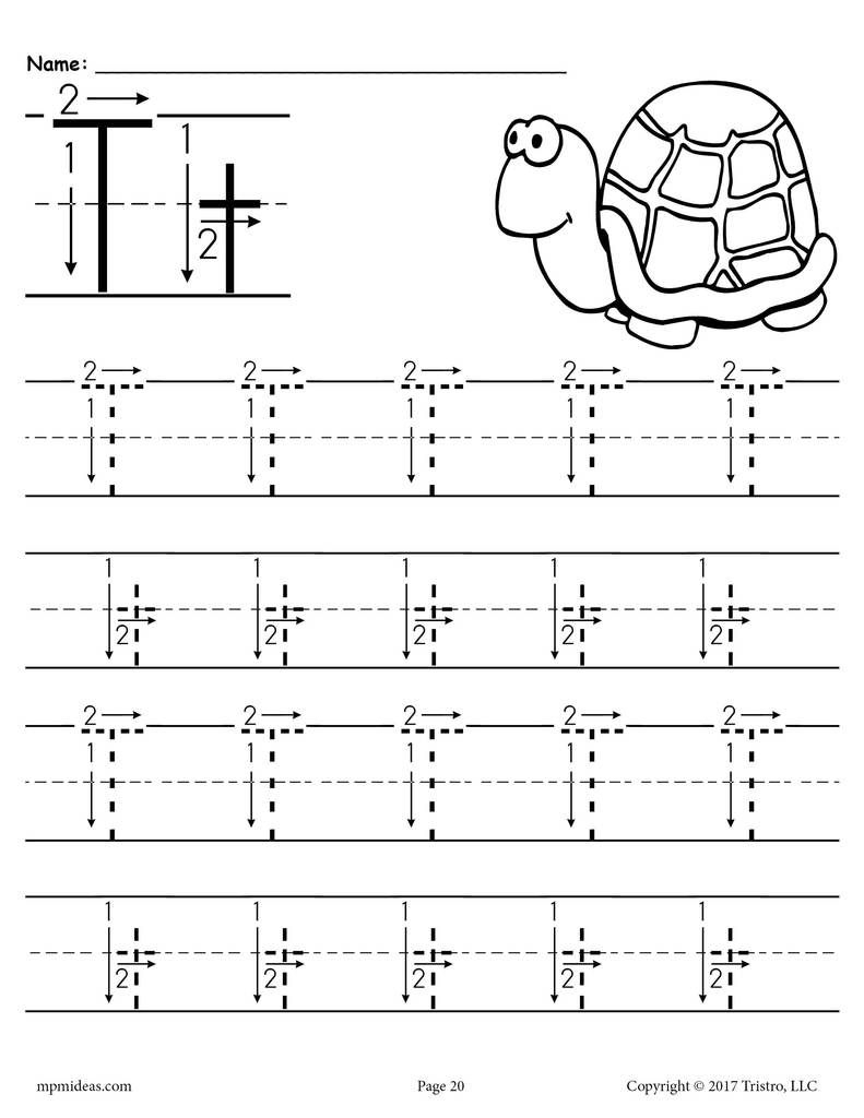 Free Printable Letter T Tracing Worksheet With Number And inside Letter T Worksheets Printable
