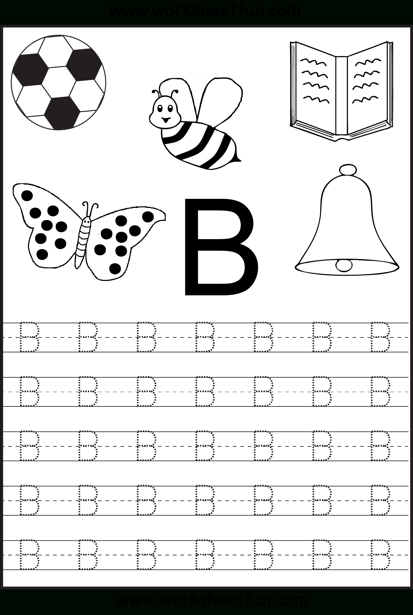 Free Printable Letter Tracing Worksheets For Kindergarten for Letter B Worksheets For Preschool Free