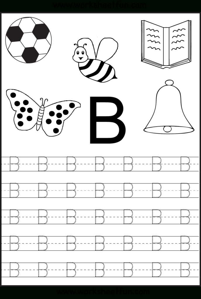 Free Printable Letter Tracing Worksheets For Kindergarten With Alphabet Tracing Worksheets B
