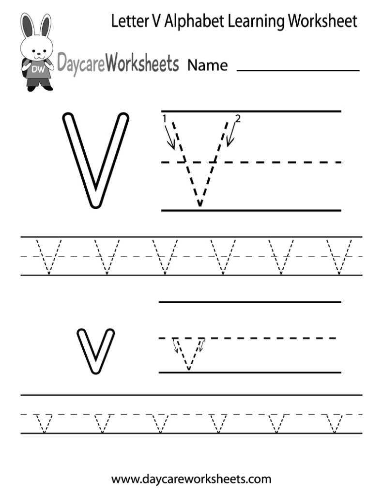 Free Printable Letter V Alphabet Learning Worksheet For With Letter V Worksheets For Preschoolers