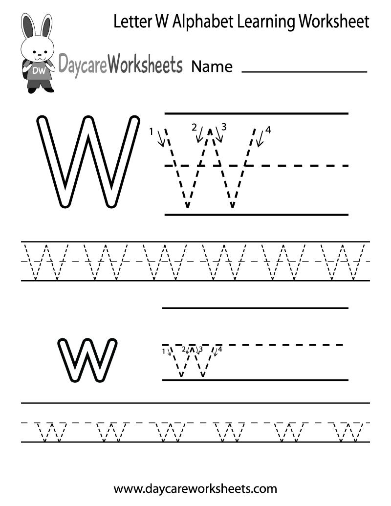 Free Printable Letter W Alphabet Learning Worksheet For inside Alphabet Worksheets W