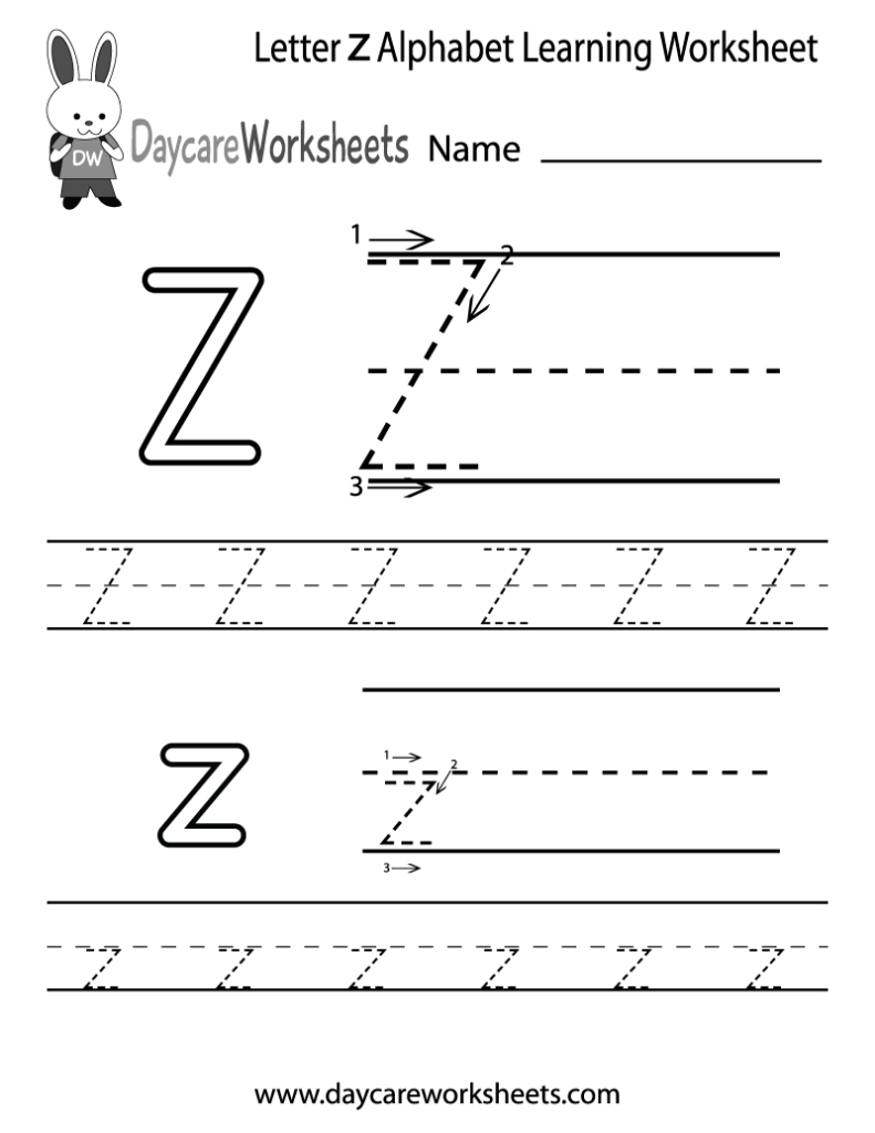 Free Printable Letter Z Alphabet Learning Orksheet For For Letter Z Worksheets For Kindergarten