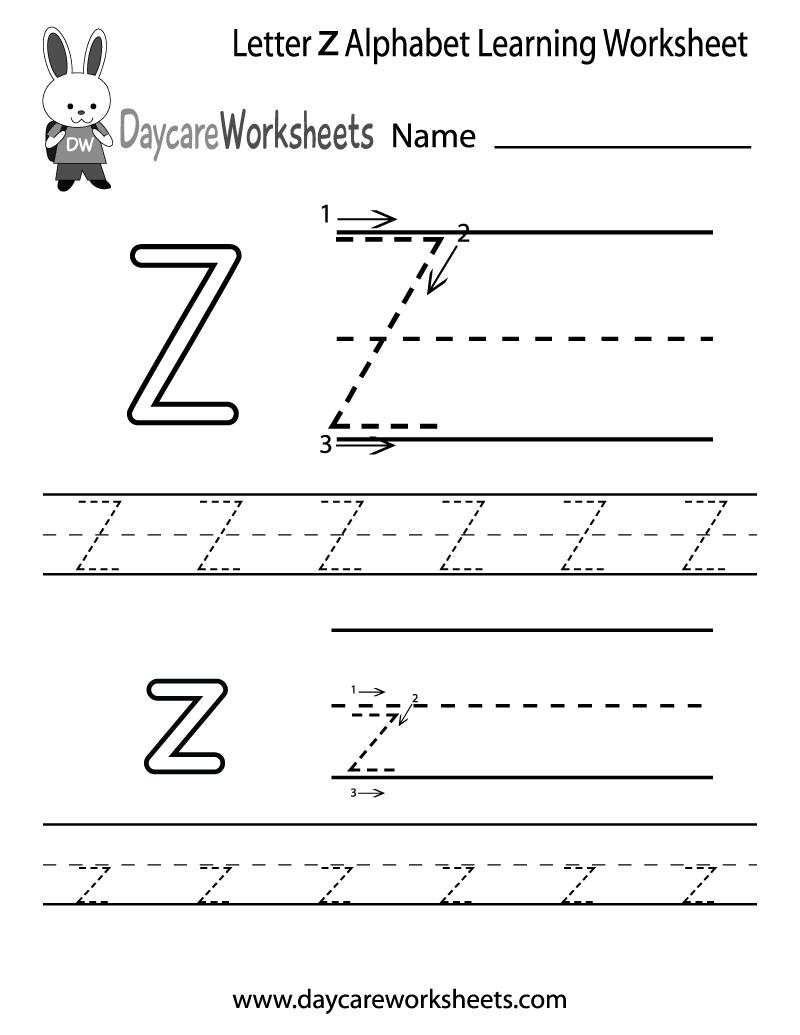 Free Printable Letter Z Alphabet Learning Orksheet For in Letter Z Worksheets For Preschool