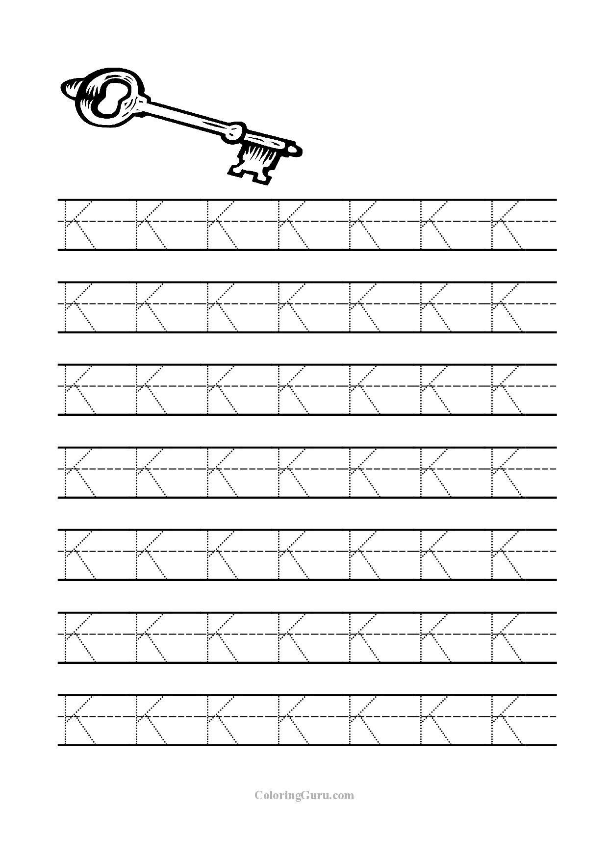 Free Printable Tracing Letter K Worksheets For Preschool intended for Letter K Worksheets Printable