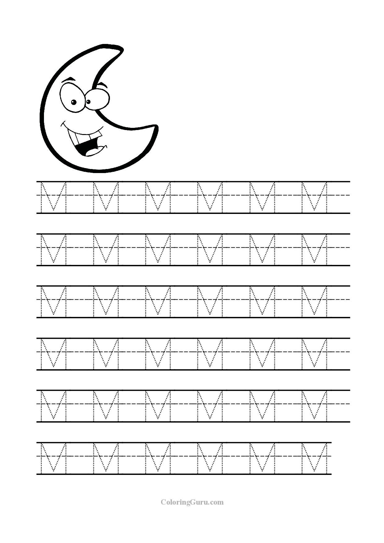 Free Printable Tracing Letter M Worksheets For Preschool regarding Letter M Worksheets Printable