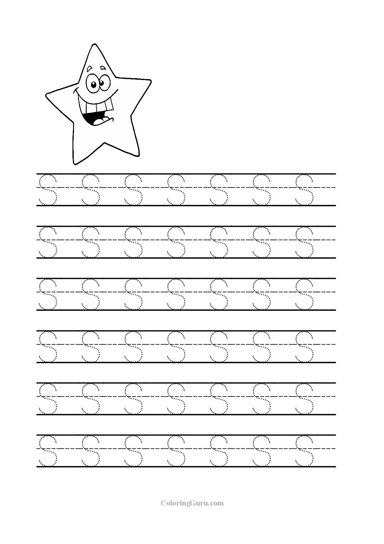 Free Printable Tracing Letter S Worksheets For Preschool in S Letter Worksheets