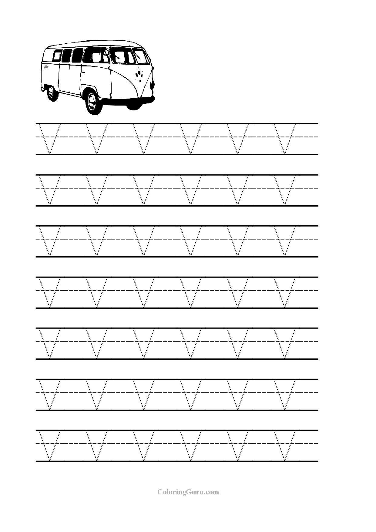 Free Printable Tracing Letter V Worksheets For Preschool with V Letter Worksheets
