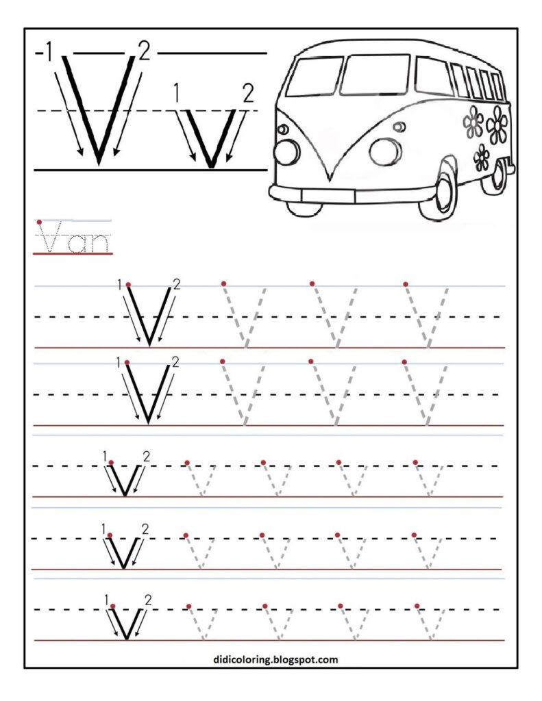 Free Printable Worksheet Letter V For Your Child To Learn Throughout Alphabet Letter V Worksheets