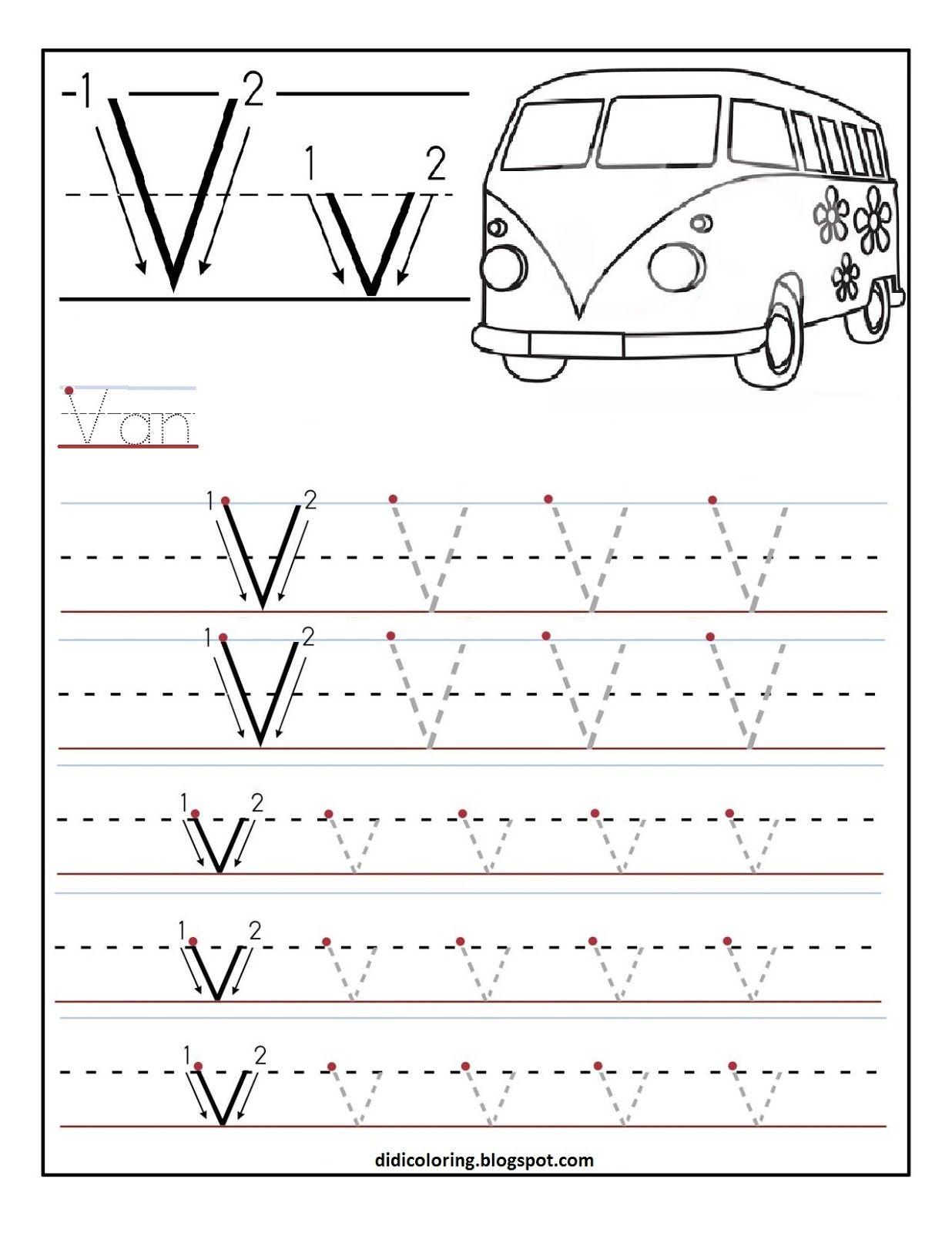 Free Printable Worksheet Letter V For Your Child To Learn within Letter V Worksheets Printable