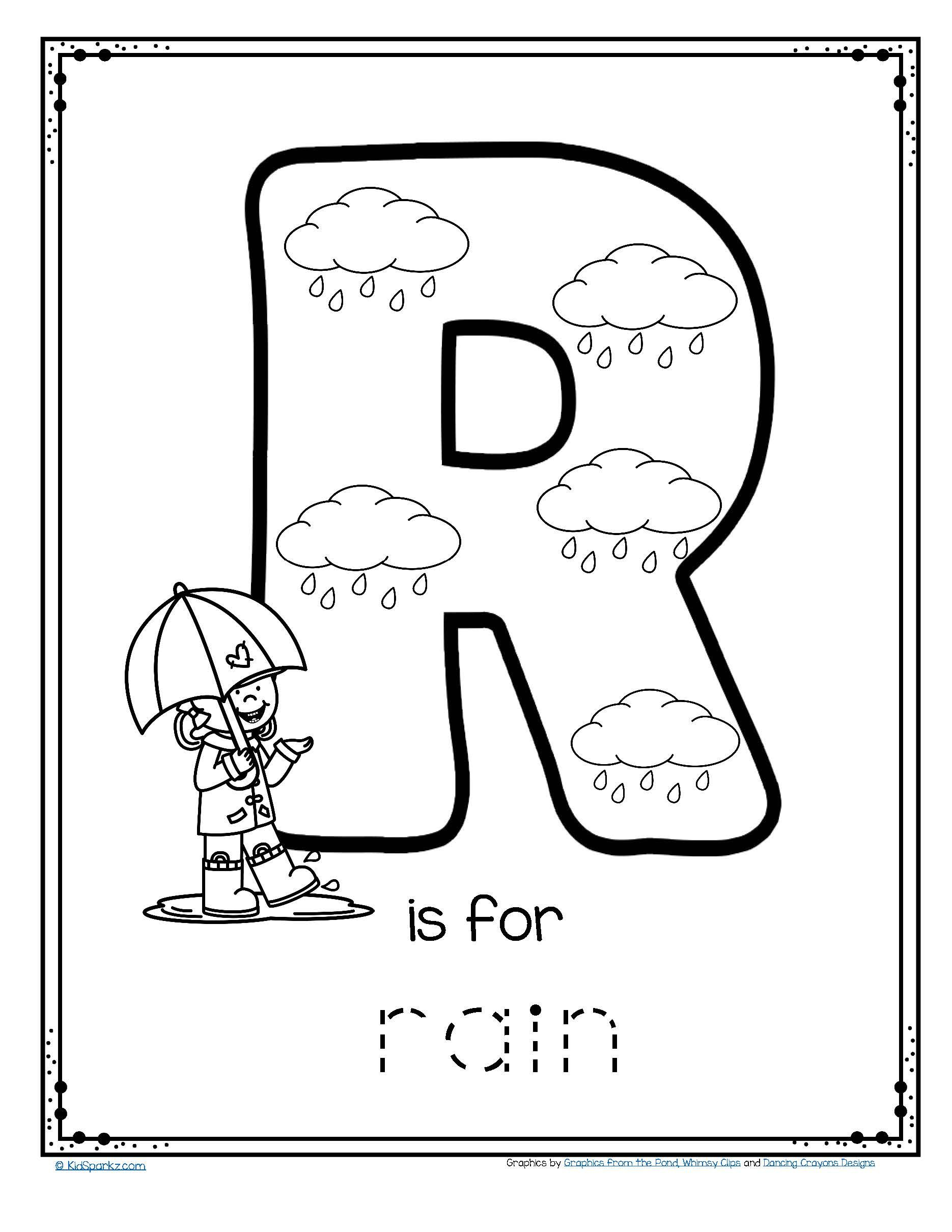 Free R Is For Rain Alphabet Trace And Color Printable in Letter R Worksheets Pre K