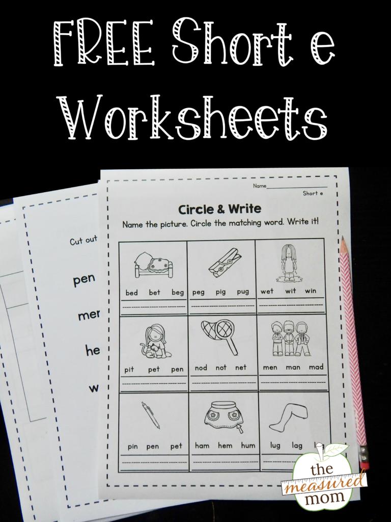 Free Short E Worksheets   The Measured Mom For Letter E Worksheets For Grade 2