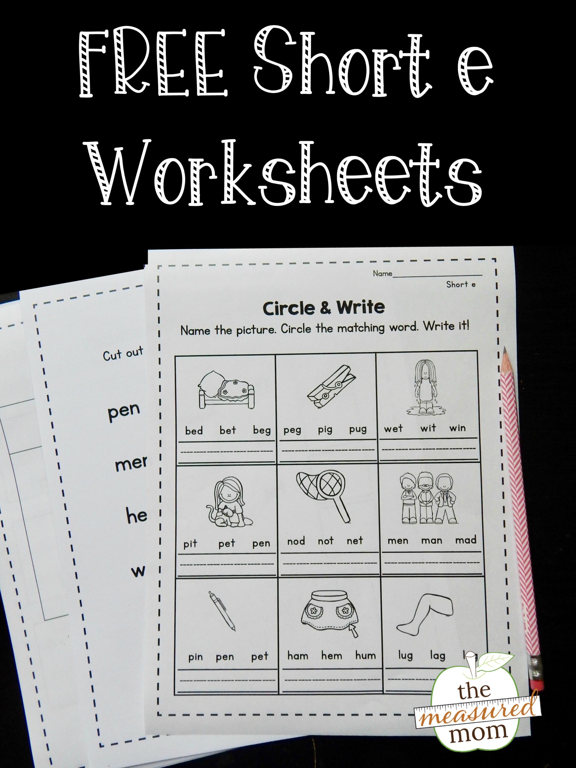 Free Short E Worksheets - The Measured Mom for Letter E Worksheets For Grade 2