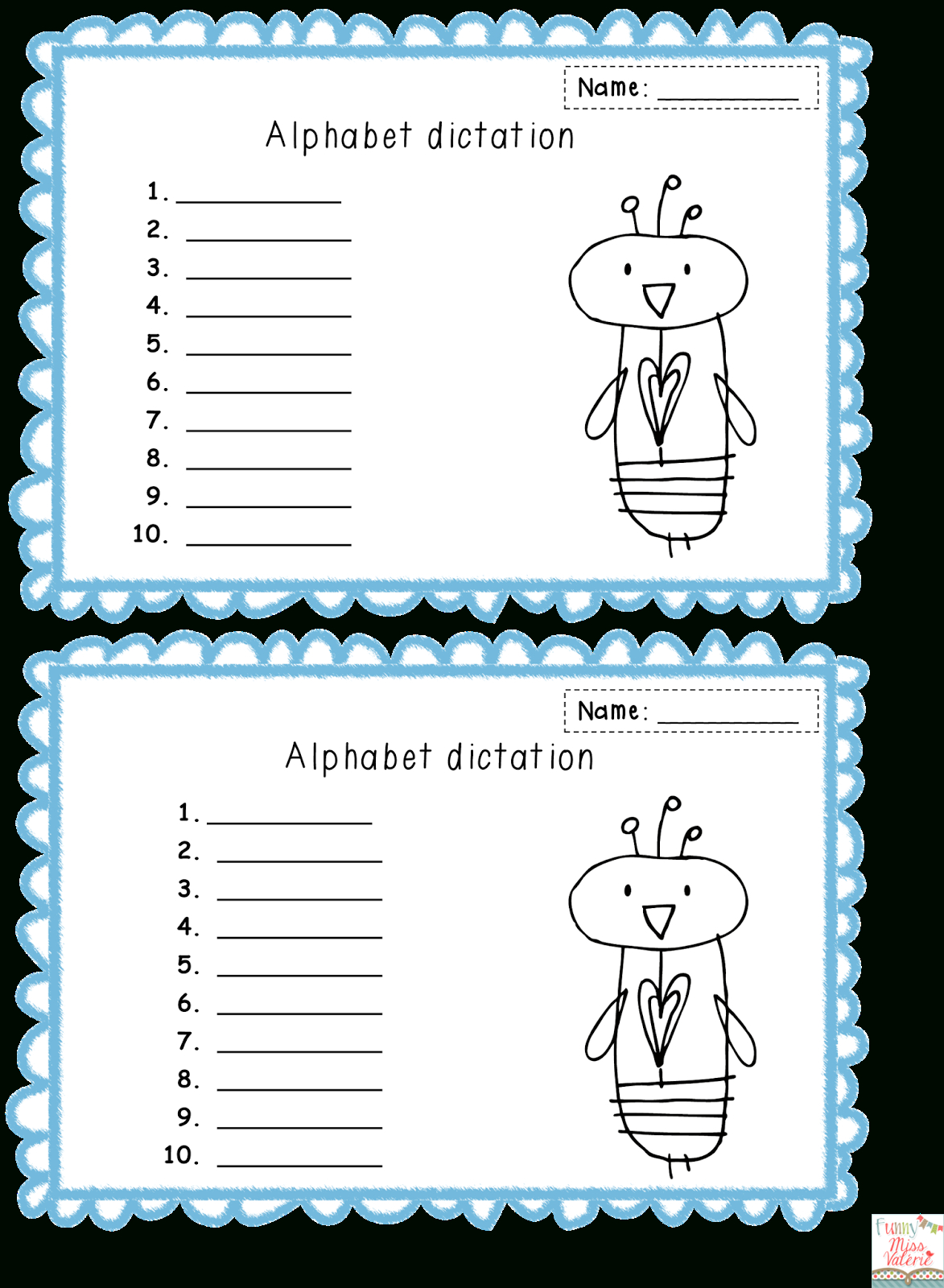 Funny Miss Val? Rie: Alphabet - Clip Art Library for Alphabet Dictation Worksheets