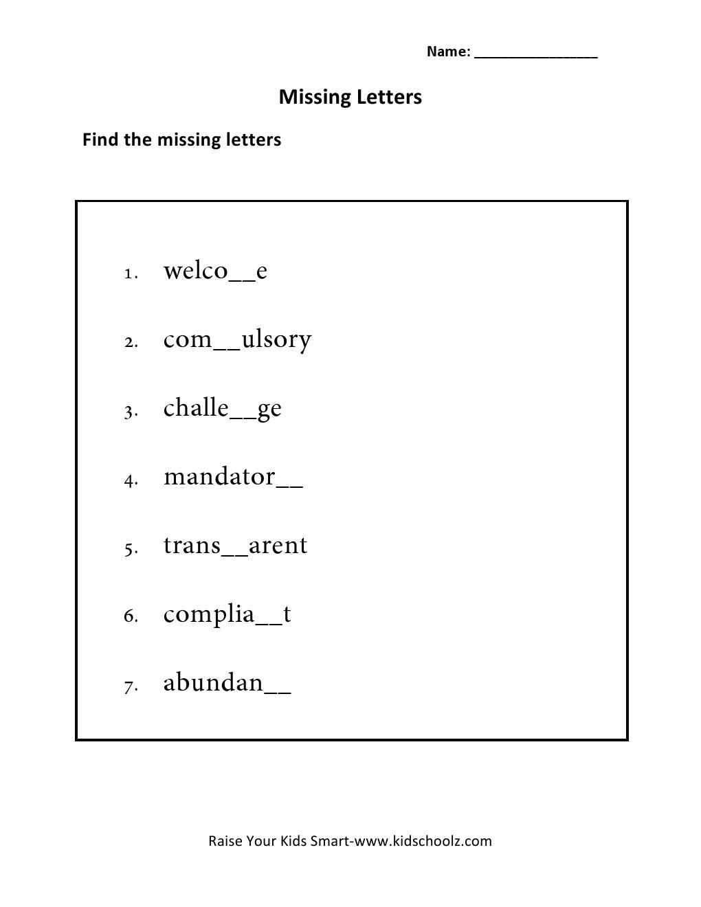 Grade 5 - Missing Letter Worksheet 5 - Kidschoolz regarding Letter 5 Worksheets