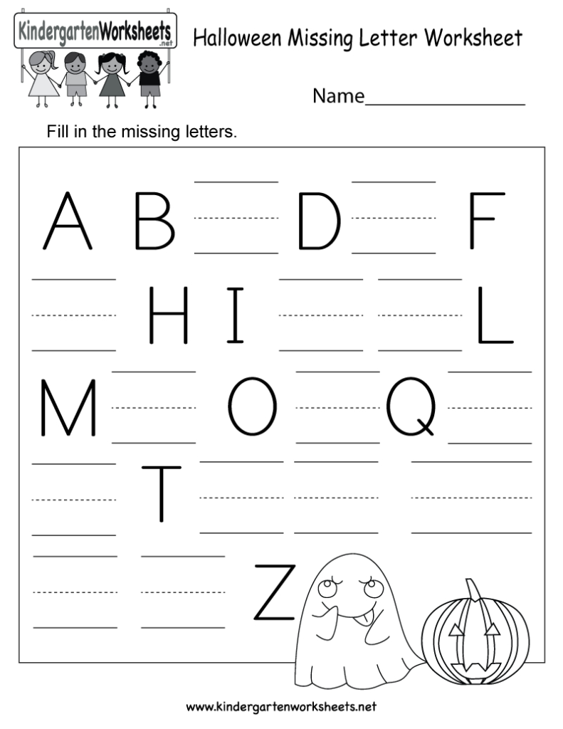Halloween Missing Letter Worksheet   Free Kindergarten With Regard To Alphabet Halloween Worksheets