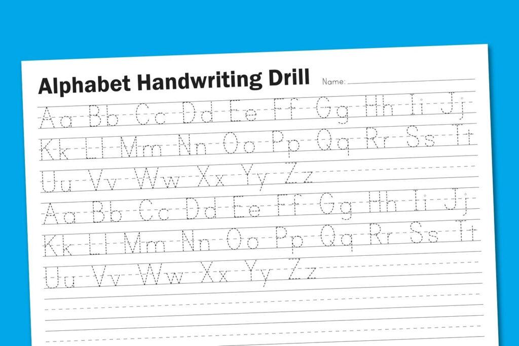 Handwriting Practice Worksheets Printable Writing Practice Regarding Alphabet Handwriting Worksheets Uk