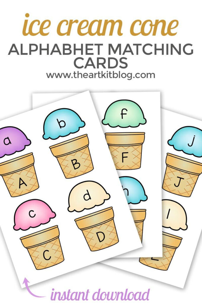 Ice Cream Cone Alphabet Match Up Printable Cards   Instant Inside Alphabet Match Up Worksheets