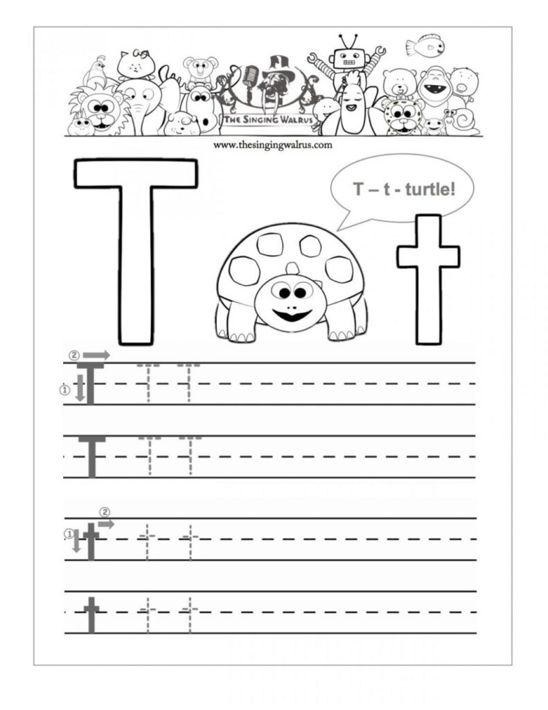 Initial T Sheets For Kindergarten Free Letter Handwriting With Regard To Letter T Worksheets Handwriting