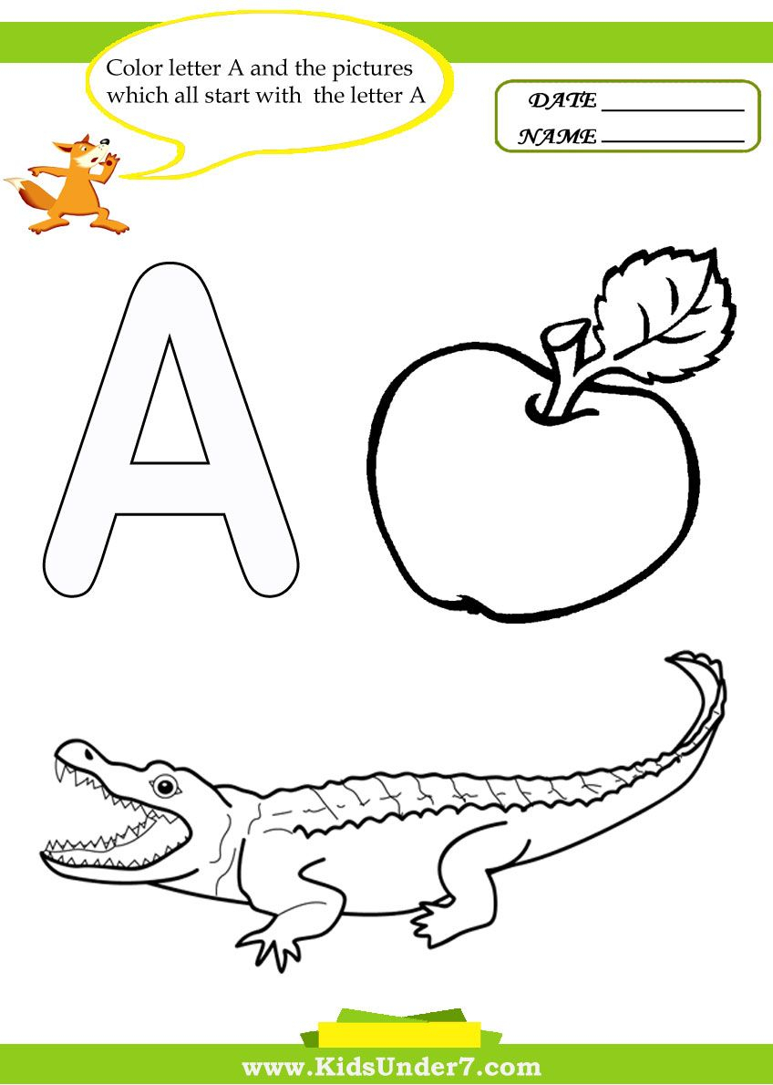 Kids Under 7: Letter A Worksheets And Coloring Pages in Letter A Worksheets For Preschool