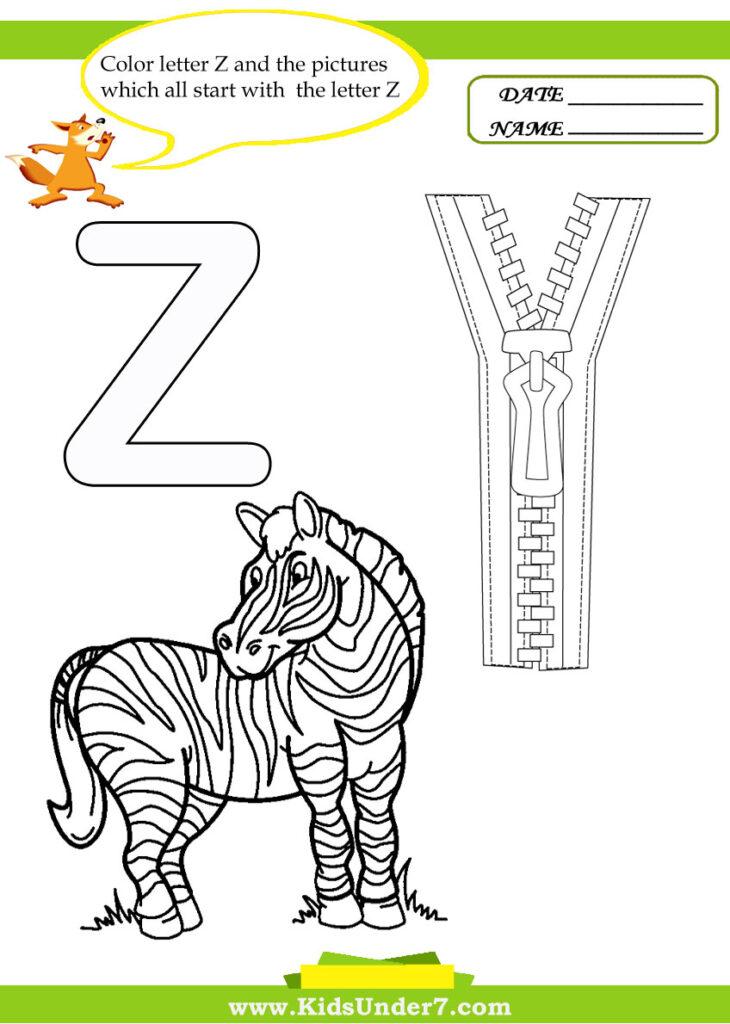 Kids Under 7: Letter Z Worksheets And Coloring Pages Regarding Letter Z Worksheets For Toddlers