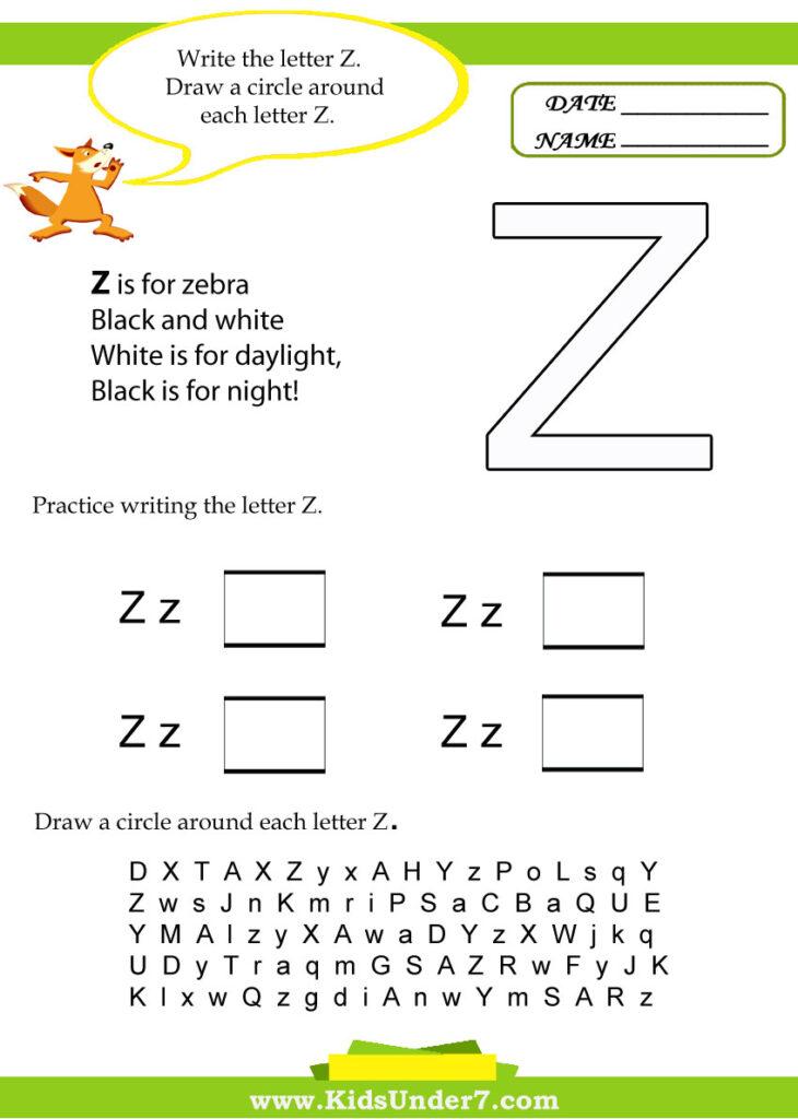 Kids Under 7: Letter Z Worksheets Intended For Letter Z Worksheets For Toddlers