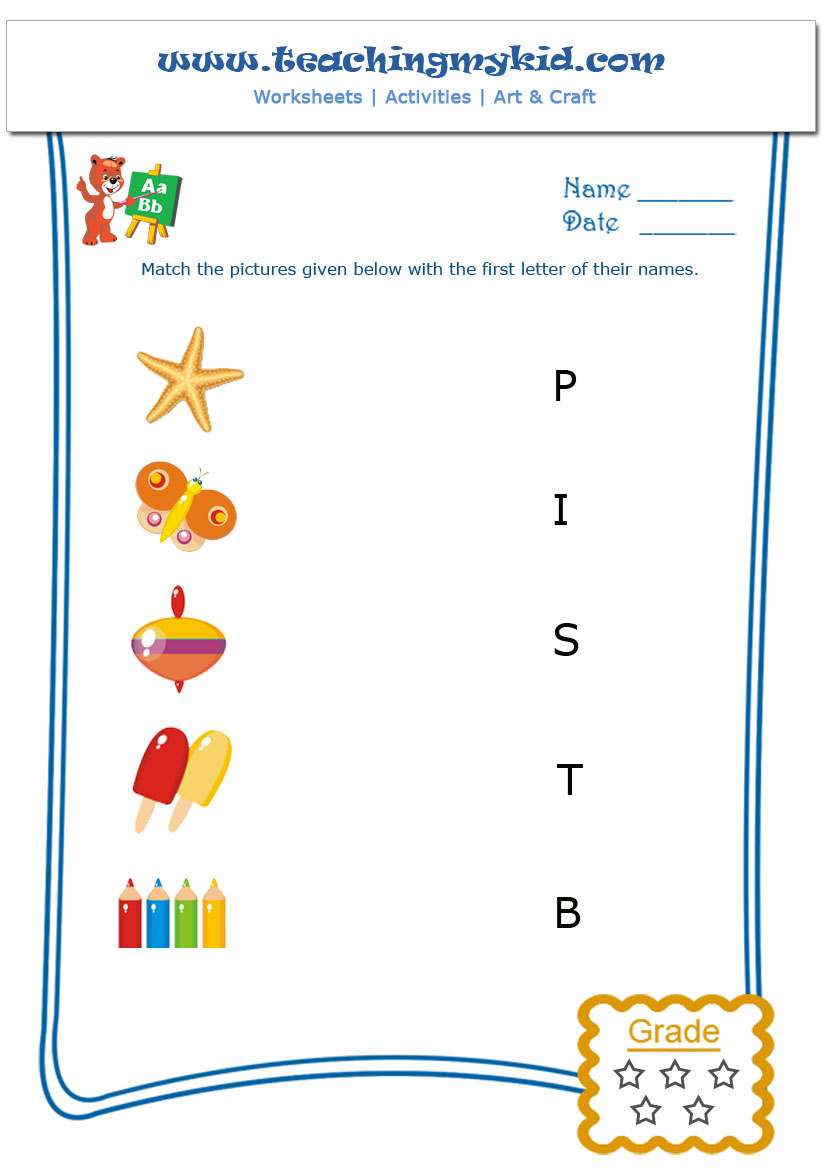 Kids Worksheets - Match The Objects With First Letter Of throughout Letter 9 Worksheets