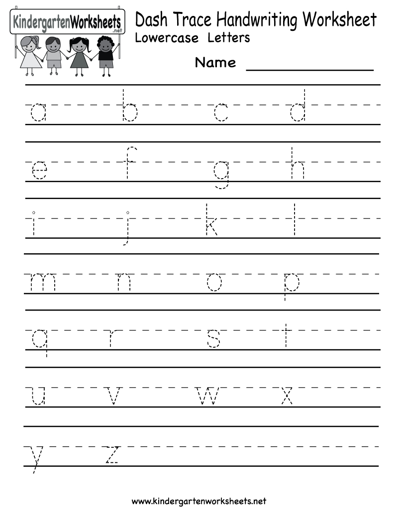 Kindergarten Dash Trace Handwriting Worksheet Printable with Alphabet Handwriting Worksheets A To Z Free Printables