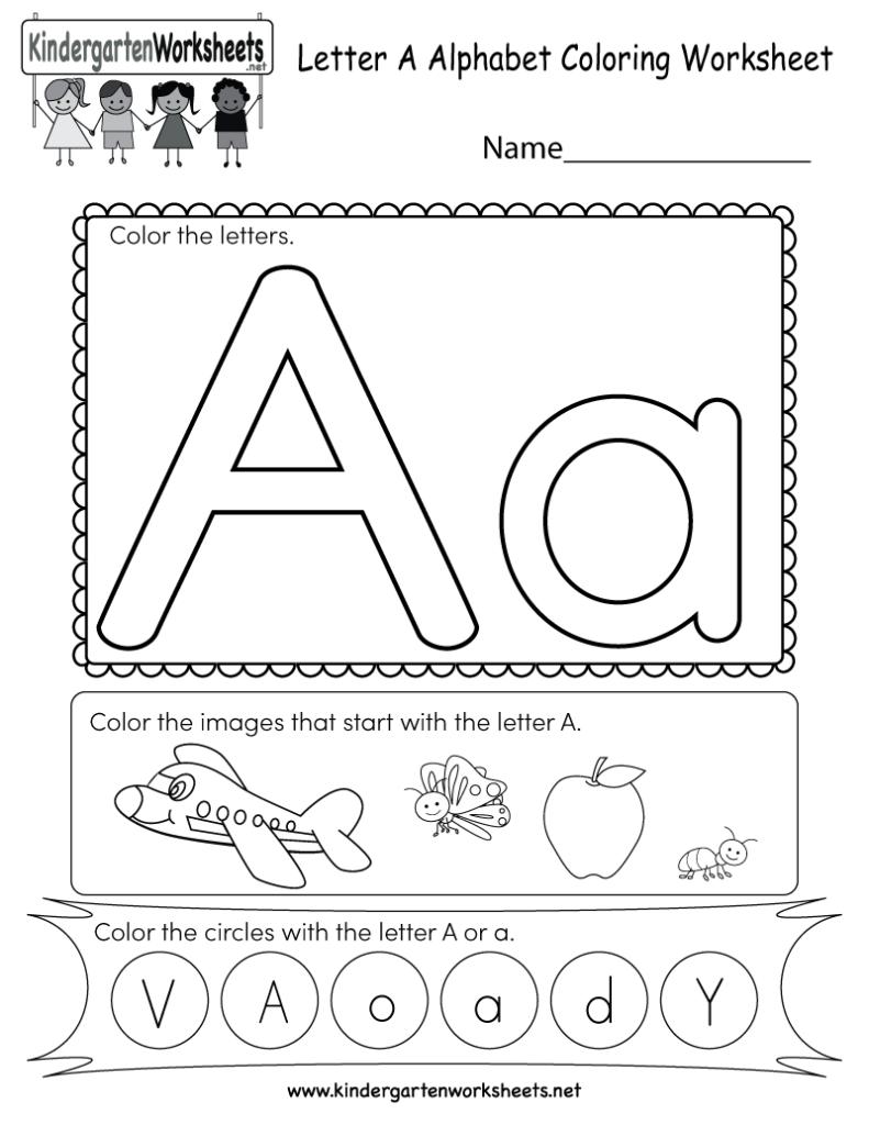 Kindergarten Letter A Coloring Worksheet Printable Intended For Letter A Alphabet Worksheets