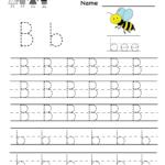 Kindergarten Letter B Writing Practice Worksheet Printable Intended For Letter B Worksheets For Preschool