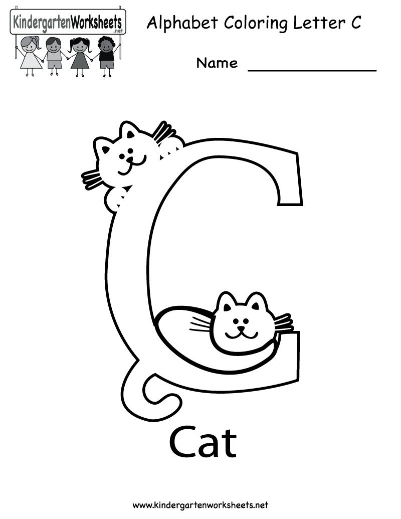 Kindergarten Letter C Coloring Worksheet Printable for Letter C Worksheets For Nursery