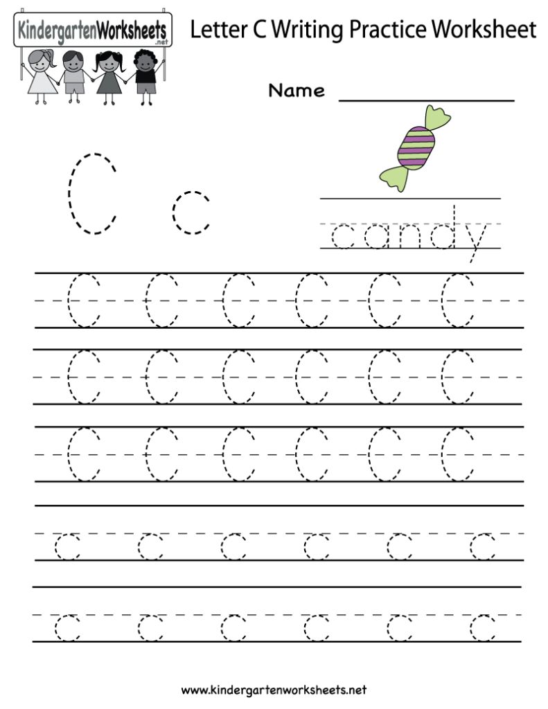 Kindergarten Letter C Writing Practice Worksheet Printable Throughout Letter C Worksheets For Toddlers